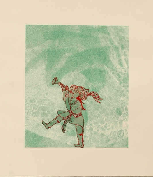 "16. Listen to the reed, lithograph on paper,10""x11"", 2015"