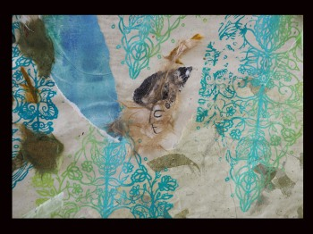 """Kay's Journey detail, screen print, block print on hand made cotton paper mulberry paper,84""""x72"""",2017"""