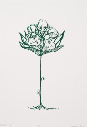 """A novel bud series,screen print,4""""x6"""",2017"""